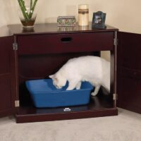 A Cat Litter Box Cabinet Keeps Things Tidy